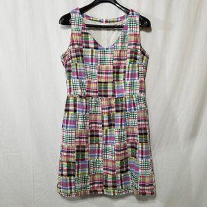 L.L. Bean sleeveless plaid mini dress